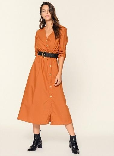 Loves You Düğme Detaylı Poplin Gömlek Elbise Oranj